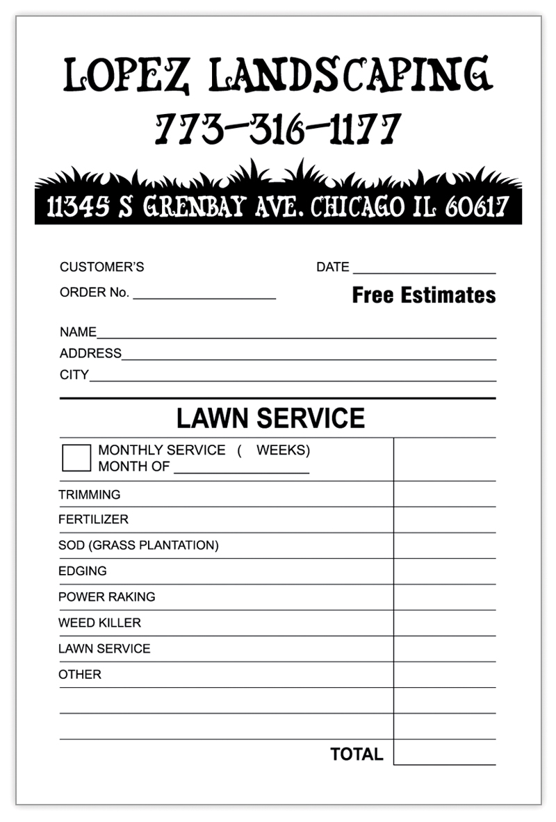 Landscaping invoice template invoice example for Custom home estimate template