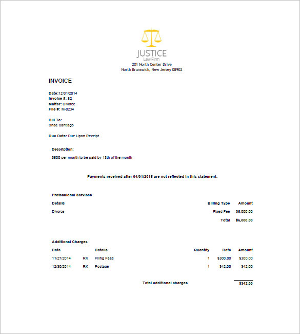 Legal Invoice Template Word Invoice Example