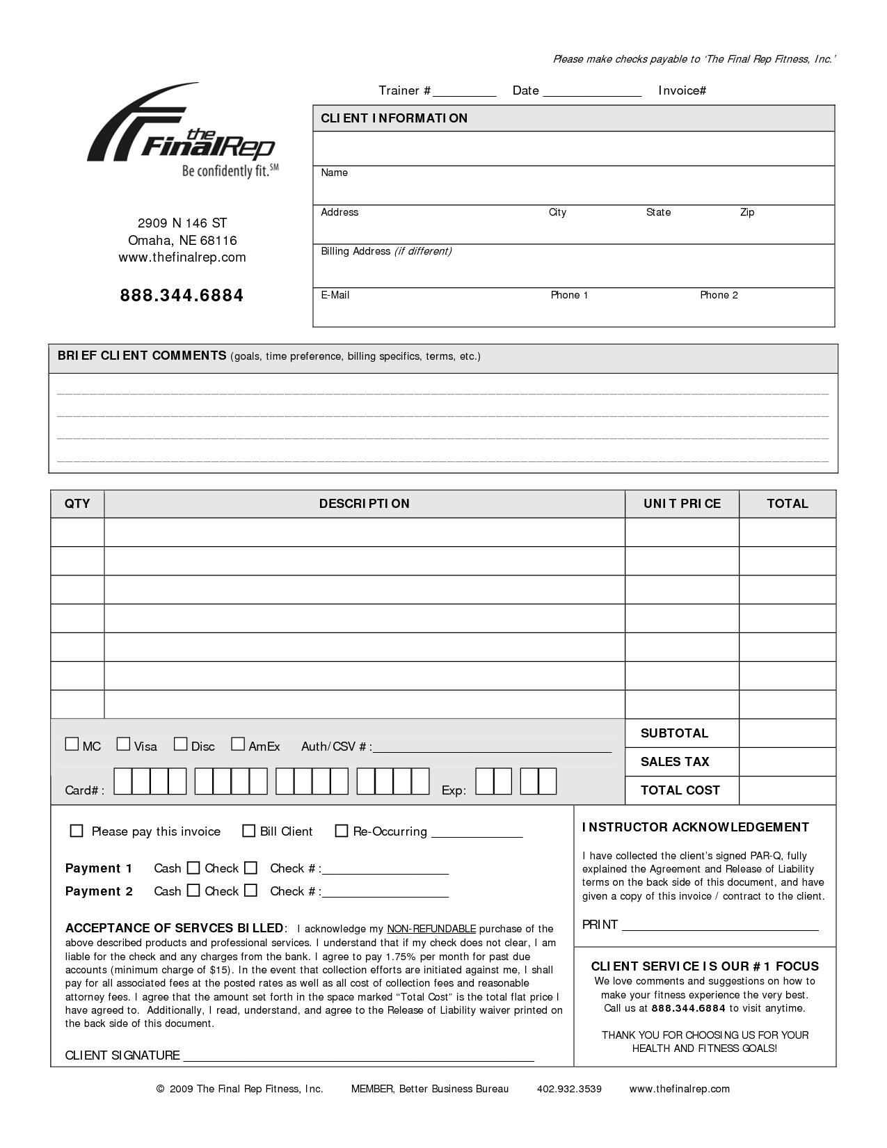 Personal invoice template invoice example for Personal trainer contract templates