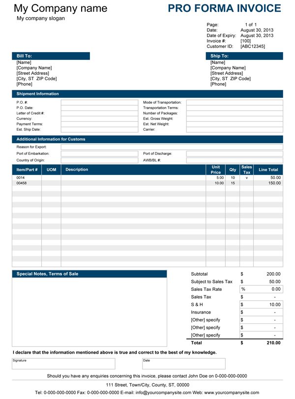 proforma invoice template excel download invoice example