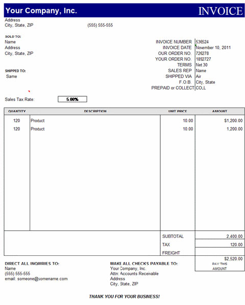 quickbooks invoice template excel invoice example