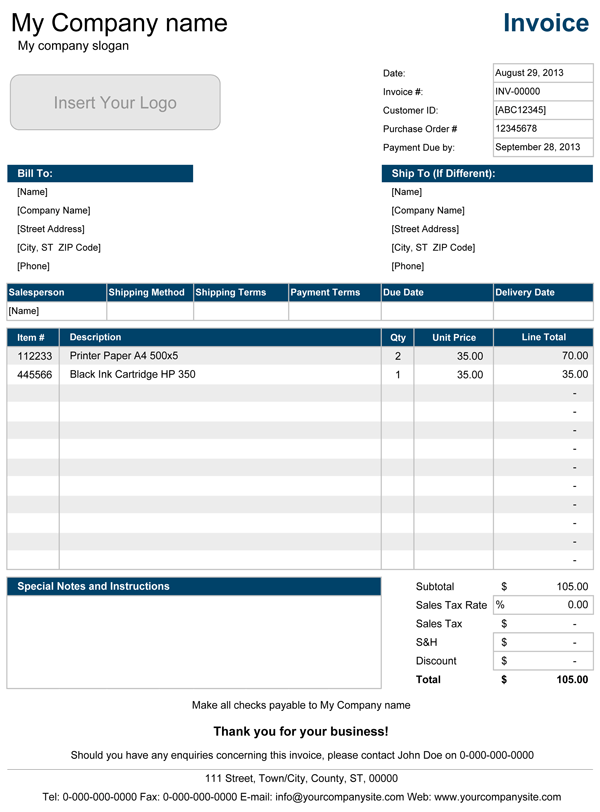 Sales Invoice  Excel  Template amp Sample Form  Biztreecom