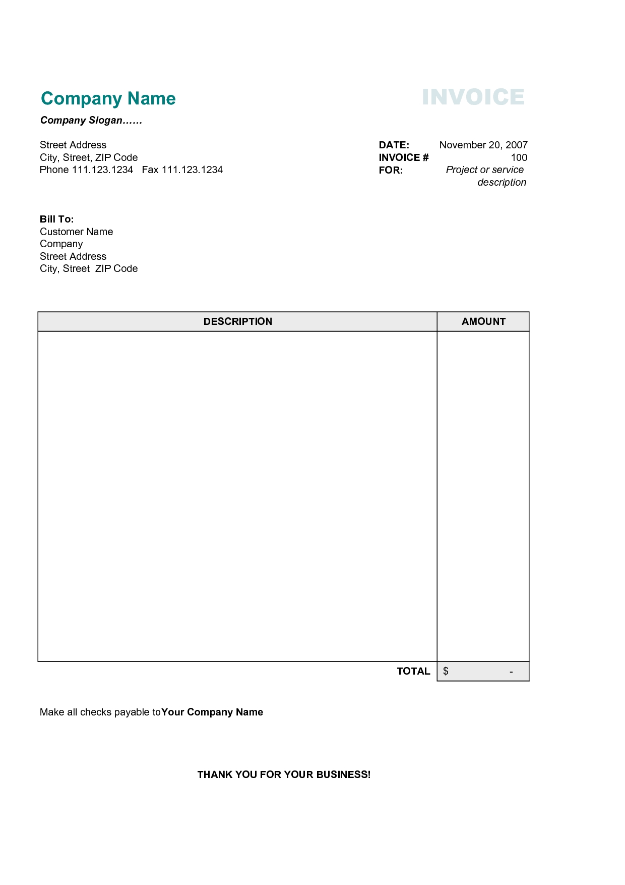 This is a picture of Invaluable Free Printable Invoices Forms