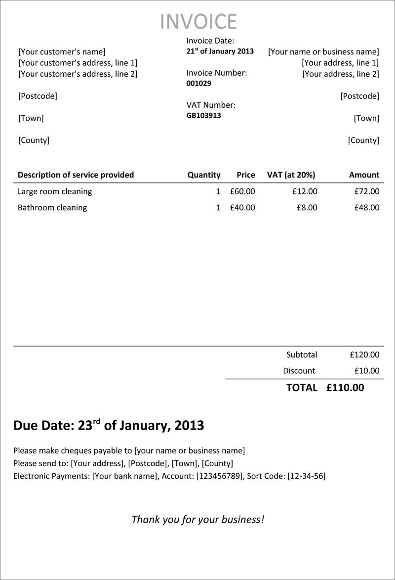 standard invoice template uk