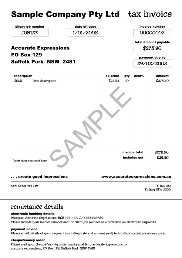 tax invoice template australia free invoice example