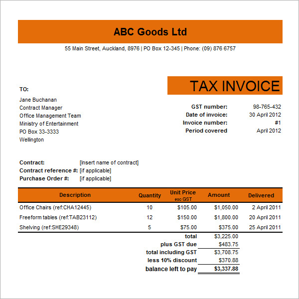 tax invoice template excel invoice example