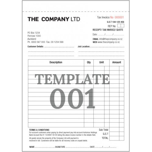 tax invoice template nz
