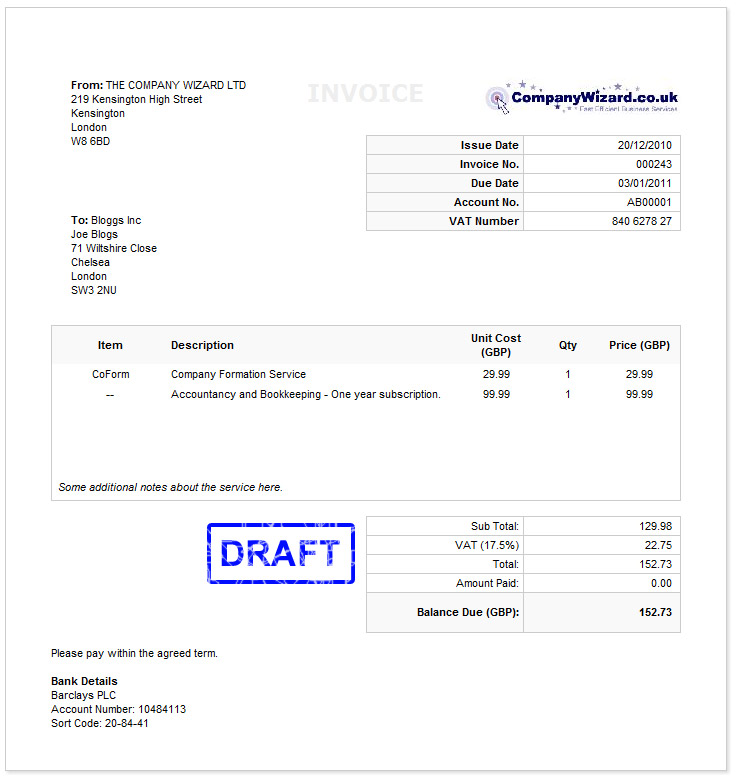 how to create an invoice for free