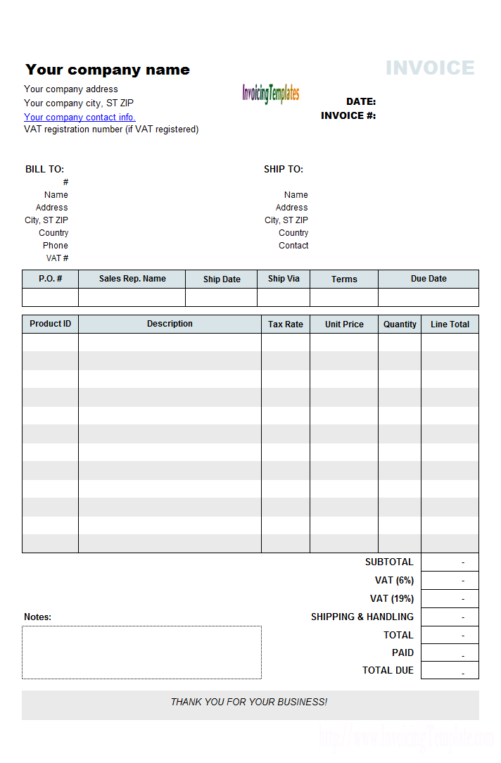 Vat Invoice Template Uk Invoice Example