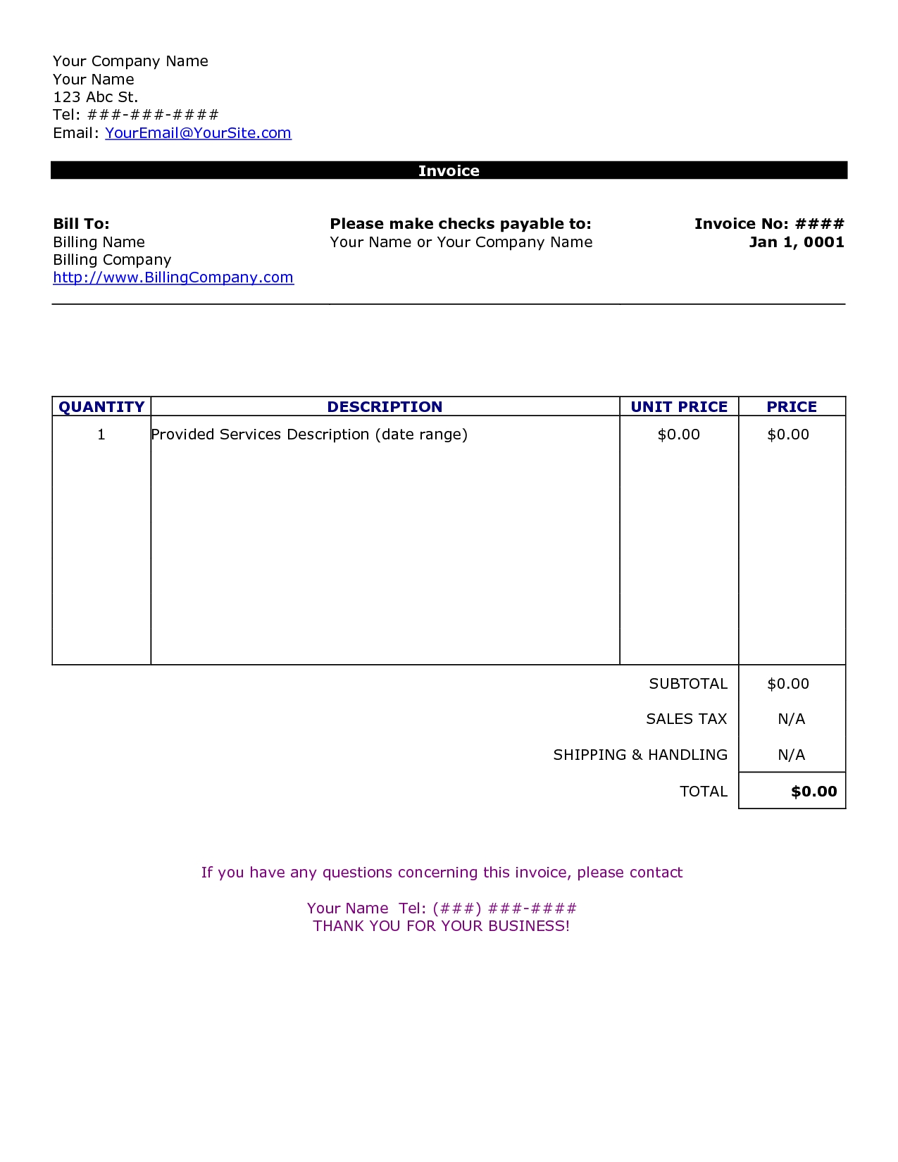 word document invoice template