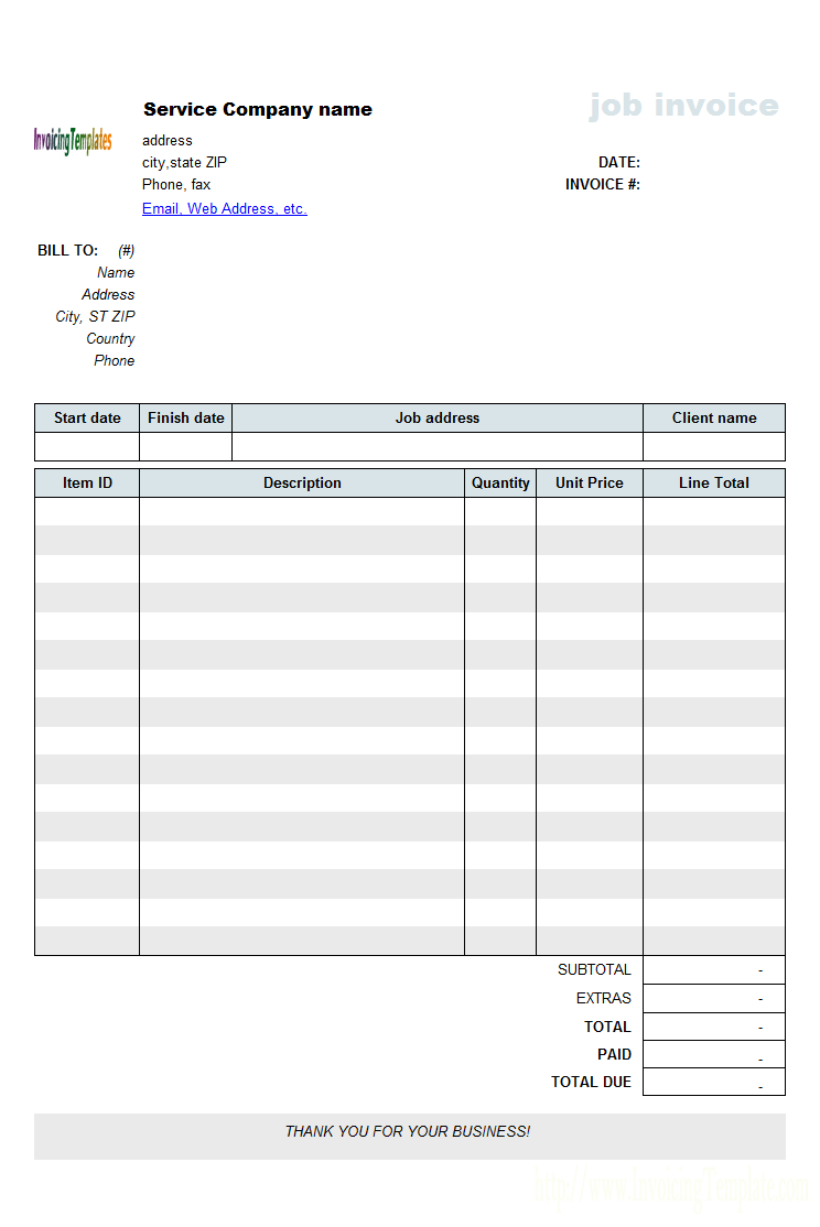 Work Invoice Template Pdf Invoice Example